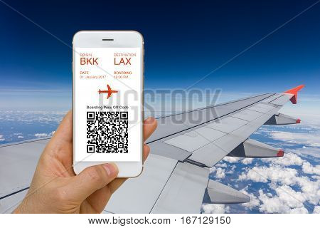 Concept of e-ticket or boarding pass application for traveling by plane on smartphone screen.