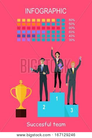 Successful team banner. Professional growth. People standing on winners podium. Infographic charts. Trophy gold cup. Successful team achieves best results working together. Vector illustration