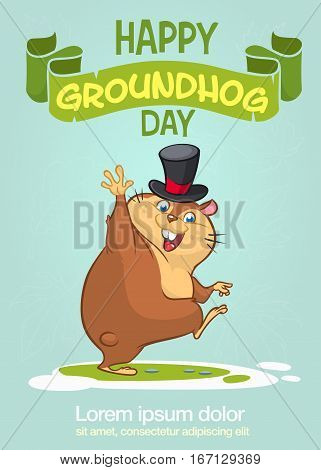 Happy Groundhog Day typography and design with cute cartoon groundhog character. Vector illustration