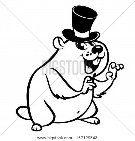 Cartoon outlined groundhog on his day with mayor hat. Vector illustration. Happy Groundhog Day line art Theme