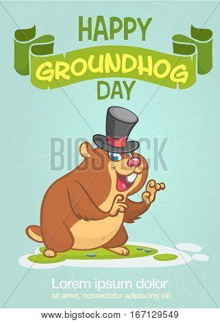 Happy Groundhog Day. Vector illustration with cartoon marmot mascot character.