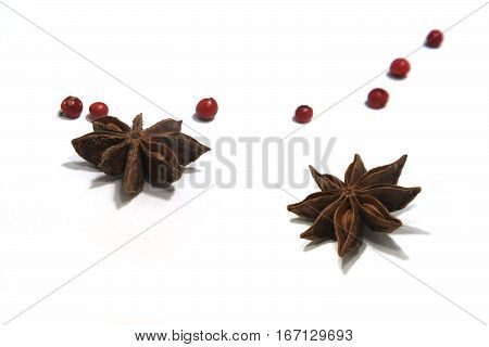 Star-shaped fruit of Illicium verum. Chinese star anise seed or badia. Spices and condiments seasoning ingredient