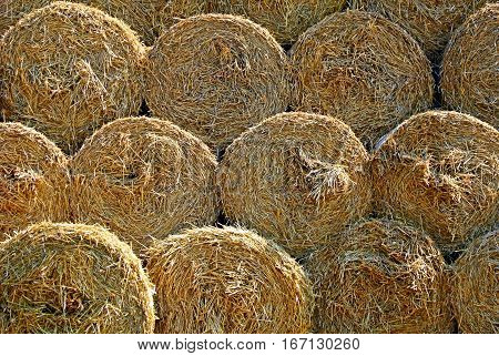 Haystack texture and stack of straw bales