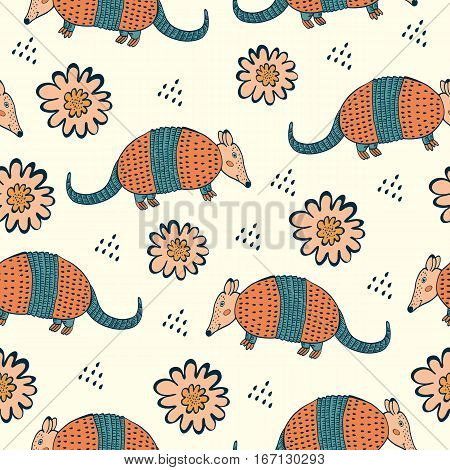 Colorful seamless pattern with armadillo and flowers. Illustration in vector format