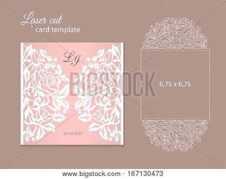 Laser cut invitation card template. Wedding invitation template for laser cutting or die cutting. Die cut paper card with rose flowers.