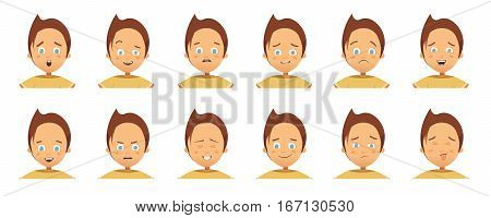 Collection of avatars with child emotions including surprise happiness hurt laugh anger cartoon style isolated vector illustration