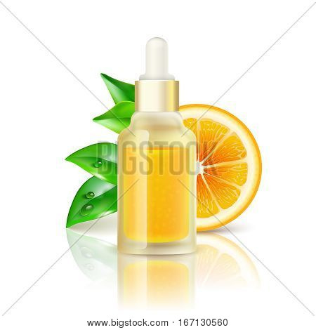 Natural citrus fruits vitamin c transparent drop bottle with concentrated orange juice realistic image with reflection vector illustration
