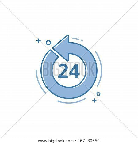 Vector illustration of flat bold line icon. Graphic design concept of open 27 7. Use in Web Project and Applications. Blue outline isolated object.
