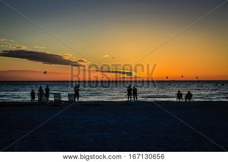 Siesta Key FL USA - November 18: People watching the sunset over the Gulf of Mexico at Siesta Key Florida