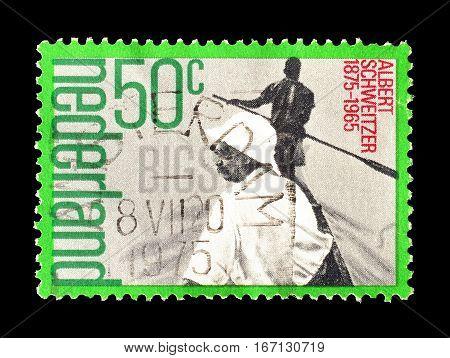 NETHERLANDS - CIRCA 1975 : Cancelled postage stamp printed by Netherlands, that shows Albert Schweitzer.