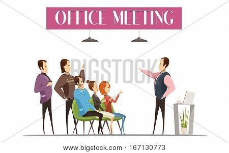 Office meeting design including boss with laptop and coffee employees and interior elements cartoon style vector illustration