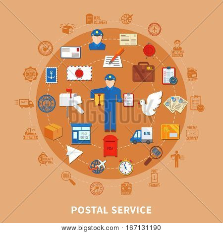 Postal communication round design with employee and office correspondence and boxes transportation on beige background vector illustration