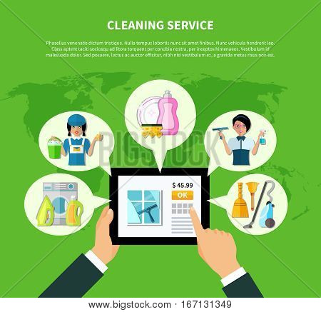 Tablet house cleaning online store concept with thought bubbles on world map background with editable text vector illustration