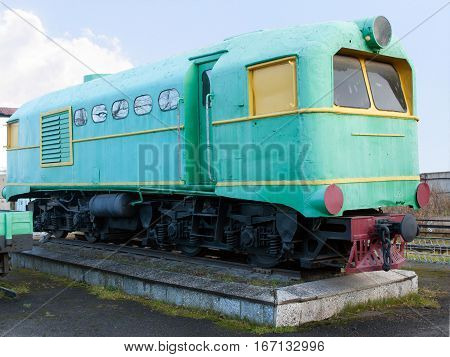ALAPAEVSK. RUSSIA - OCTOBER 27 2012: Green narrow gauge locomotive. The oldest narrow-gauge railway depot in Russia