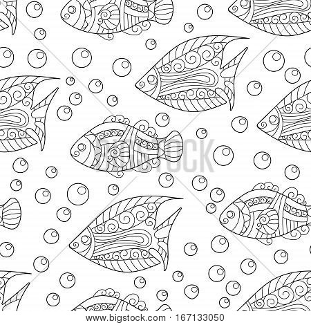 Coloring pages for adult. Coloring book. Antistress. Seamless abstract hand-drawn ornamental fish with babbles pattern. Zentangle ornamental fish background. Doodl style.