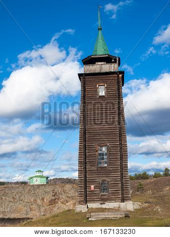 Wooden sentry fire bell. Ural. Russia. nobody