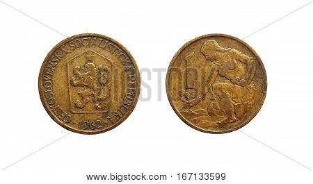 Coin 1 Krone Czechoslovakia in 1962 year