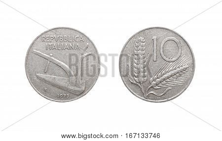 10 italian lira coin isolated on white background