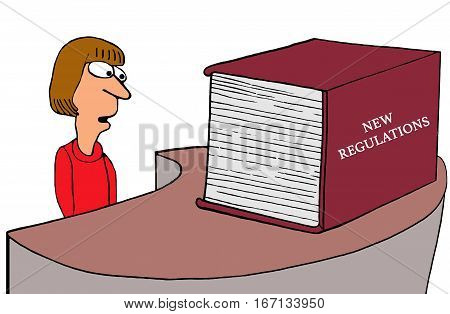 Business or government or medical cartoon about a huge, thick book of New Regulations.