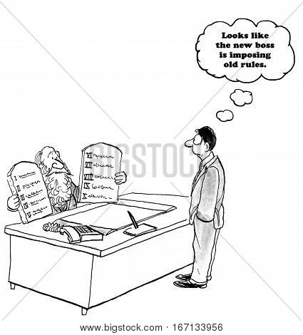 Business cartoon about a boss imposing old rules.