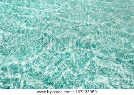 Blue clear transparent water background with sand