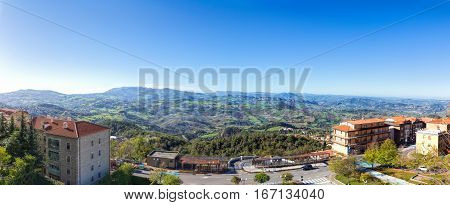 San Marino Italy - November 06 2013: Panorana San Marino and the Apennine Mountains. Monte Titano is the highest peak.