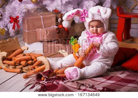 Happy Baby Child In Costume A Rabbit Bunny With Carrot