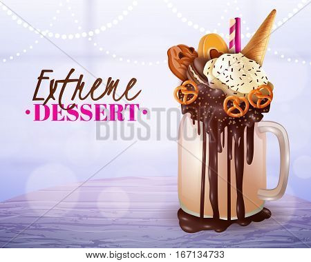 Rich cream chocolade cake and cookies topped overload milkshake jar dessert with blurred light background vector illustration