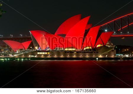 28 January 2017 - Sydney Opera house lit up for the celebration of the Lunar New Year - Year of the Rooster in Chinese Horoscope, Chinese New Year 2017