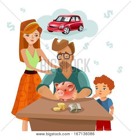 Home budget planning with family income expenses and target money saving for dream purchase concept flat vector illustration