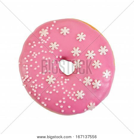 Donut With Pink Frosting And Decorative Sprinkles