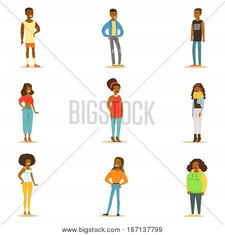 Afro-American Black People Street Style Clothing Collection Of Cartoon Characters Standing. American Men And Women Of African Ethnic Group In Summer Clothes Vector Illustrations.