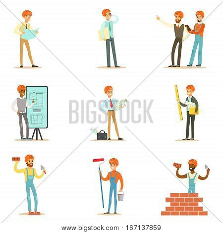 Architects And Construction Workers House Construction Process From Project To Building Set Of Illustrations. Cartoon Male Characters Working In Construction Set, MAnual Laborers And Supervisors .
