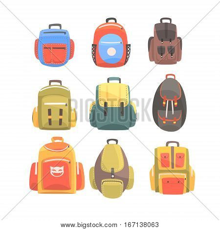 Colorful Cartoon Backpacks Set Of School Bag For Kids Designs. Handbag Bright Color Collection Of Vector Illustrations With Touristic Hand Luggage Items.