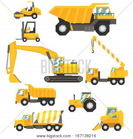 Yellow Construction Cars And Machinery Set Of Colorful Vehicles In Realistic Design Illustrations. Building Site And Road Machines On Wheels Bright Color Vector Drawings.