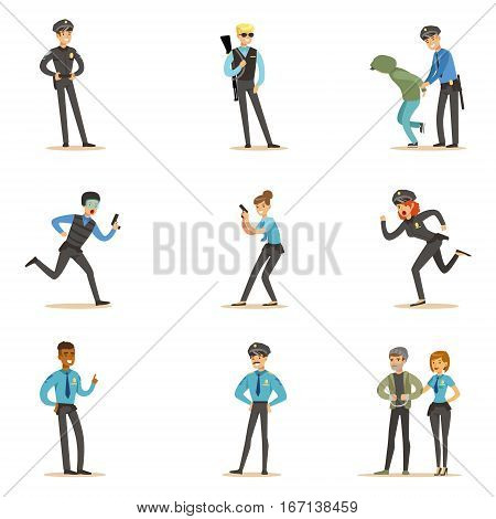 Police And Road Patrol Happy Cartoon Character On Duty Wearing Policeman Uniform Set. Man And Women At Public Service Job Catching Criminals Vector Illustrations.