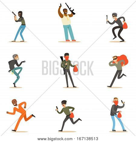 Criminals And Outlaws Set Of Cartoon Characters With Mobster, Burglar, Thief And Other Dangerous Public Enemies. Criminal Activities And People Acting Against The Law Vector Illustrations.