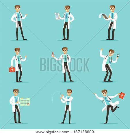 Doctor Work Process Set Of Hospital Related Scenes With Young Medical Worker Cartoon Character. Man Working In Healthcare Different Situations Series Of Vector Illustration.