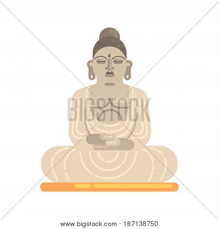 Statue Of Buddha Sitting In Lotus Pose, Famous Traditional Touristic Symbol Of Indian Culture. Colorful Vector Illustration With India Well-Known Cultural Object.