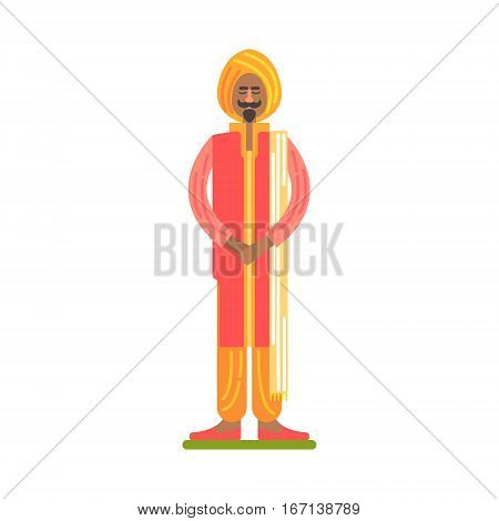Man In National Red And Orange Clothes With Turban, Famous Traditional Touristic Symbol Of Indian Culture. Colorful Vector Illustration With India Well-Known Cultural Object.