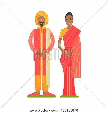 Couple Wearing National Costumes Of Red And Orange Colors, Famous Traditional Touristic Symbol Of Indian Culture. Colorful Vector Illustration With India Well-Known Cultural Object.