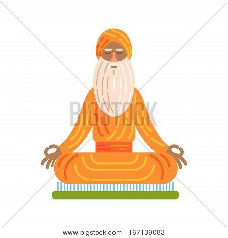 Yogi Sitting On Board With Nails In Lotus Pose, Famous Traditional Touristic Symbol Of Indian Culture. Colorful Vector Illustration With India Well-Known Cultural Object.