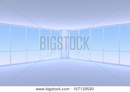 Business architecture office room interior - empty blue business office room corner with floor ceiling walls and two large window with morning blue sky light 3d illustration