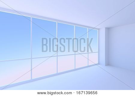 Business architecture office room interior - empty blue business office room with floor ceiling walls and large window with morning blue sky light 3d illustration