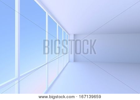 Business architecture office room interior - empty blue business office room with floor ceiling walls and large window with morning blue sky light 3d illustration perspective view