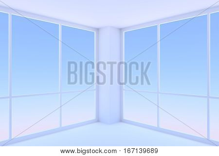 Business architecture office room interior - two large windows with morning blue sky light in empty blue business office room with floor ceiling and walls 3d illustration