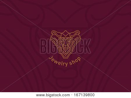 logo for jewelry shop, a decoration in the form of a bull's head