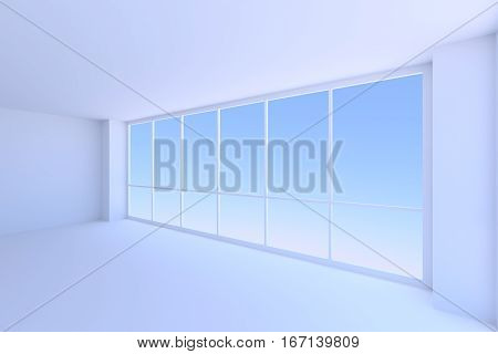 Business architecture office room interior - large window with morning blue sky light in empty blue business office room with floor ceiling and walls 3d illustration