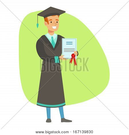 Graduate Student Holding Insurance Contract , Insurance Company Services Infographic Illustration. Vector Icon With Type Of Insurance Helping People To Protect Their Property.