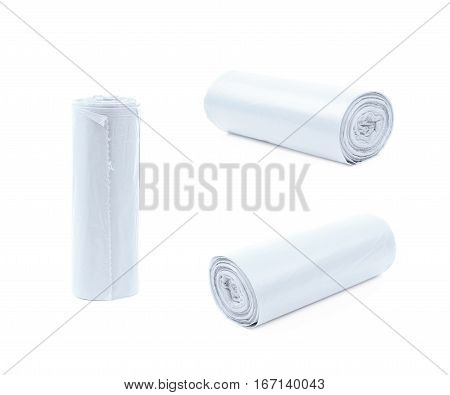 White plastic polyethylene trash bag roll isolated over the white background, set of three different foreshortenings